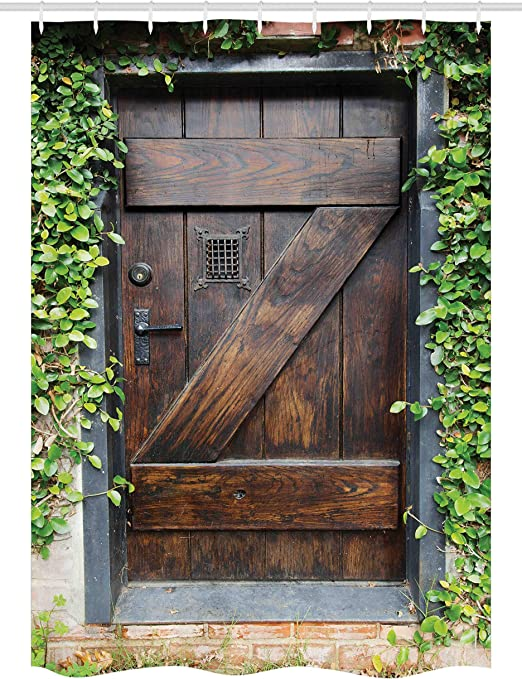 Rústico establo cortina de ducha por Ambesonne, pequeño español estilo oscuro manchado madera puerta jardín secreto