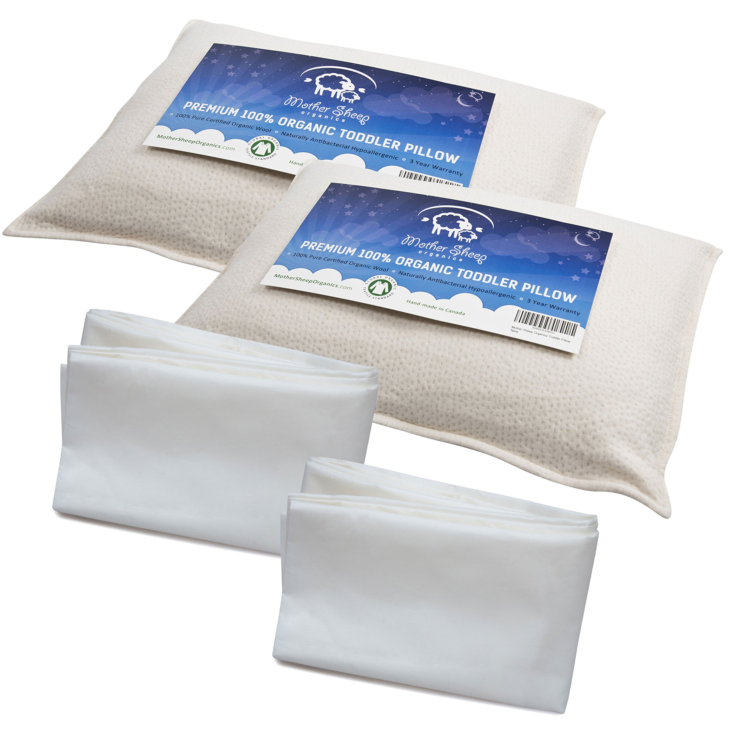 Bundle of 4 items – 2 Organic Wool Toddler Pillows & 2 Toddler Pillowcases, All Natural & 100% GOTS Certified Pure Organic with Wool 'Pearls' Filling & 100% Pure Certified Long Staple Organic Cotton