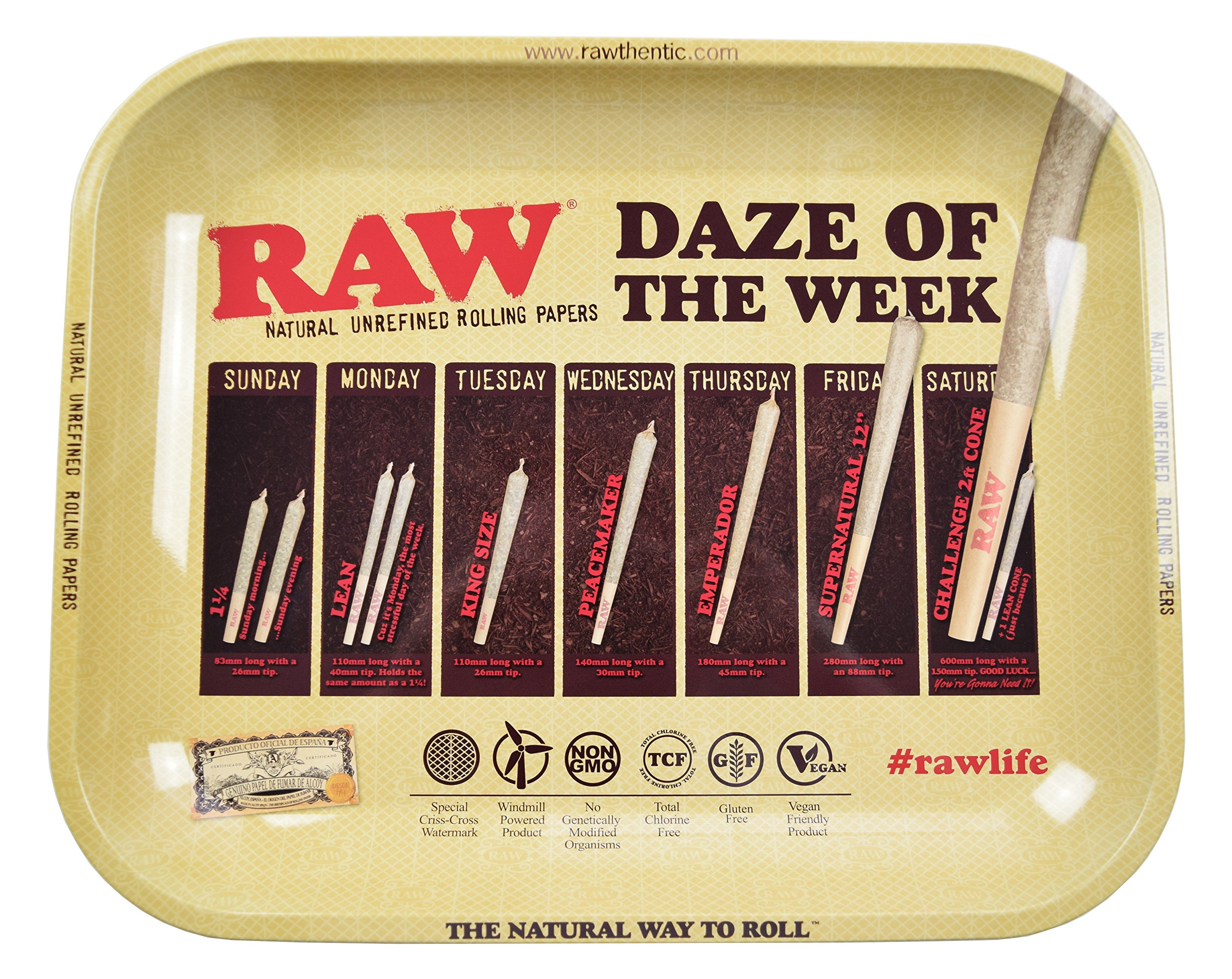 RAW Daze Of The Week Metal Rolling Tray (Large 13.5''x11'')