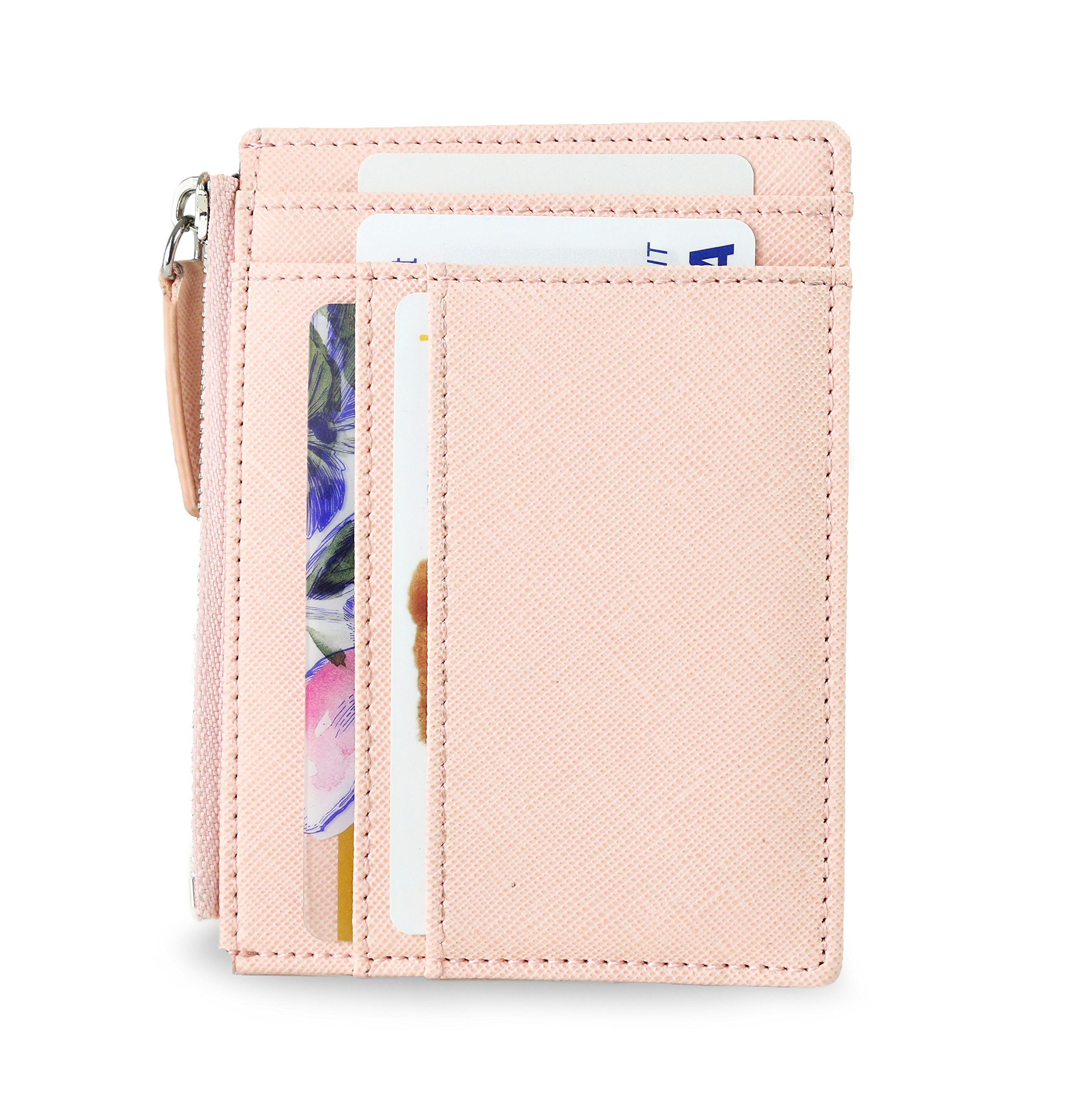SERMAN BRANDS - Womens Wallet RFID Blocking Credit Card Holder Slim Minimalist Wristlet Card Case Wallet with Zipper Pocket - Removable Wristlet Strap (Lush CH)