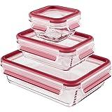 Emsa 514169  3 recipientes herméticos de cristal 0.2, 0.5, 1.3 Litros, Transparente/Rojo, Clip & Close