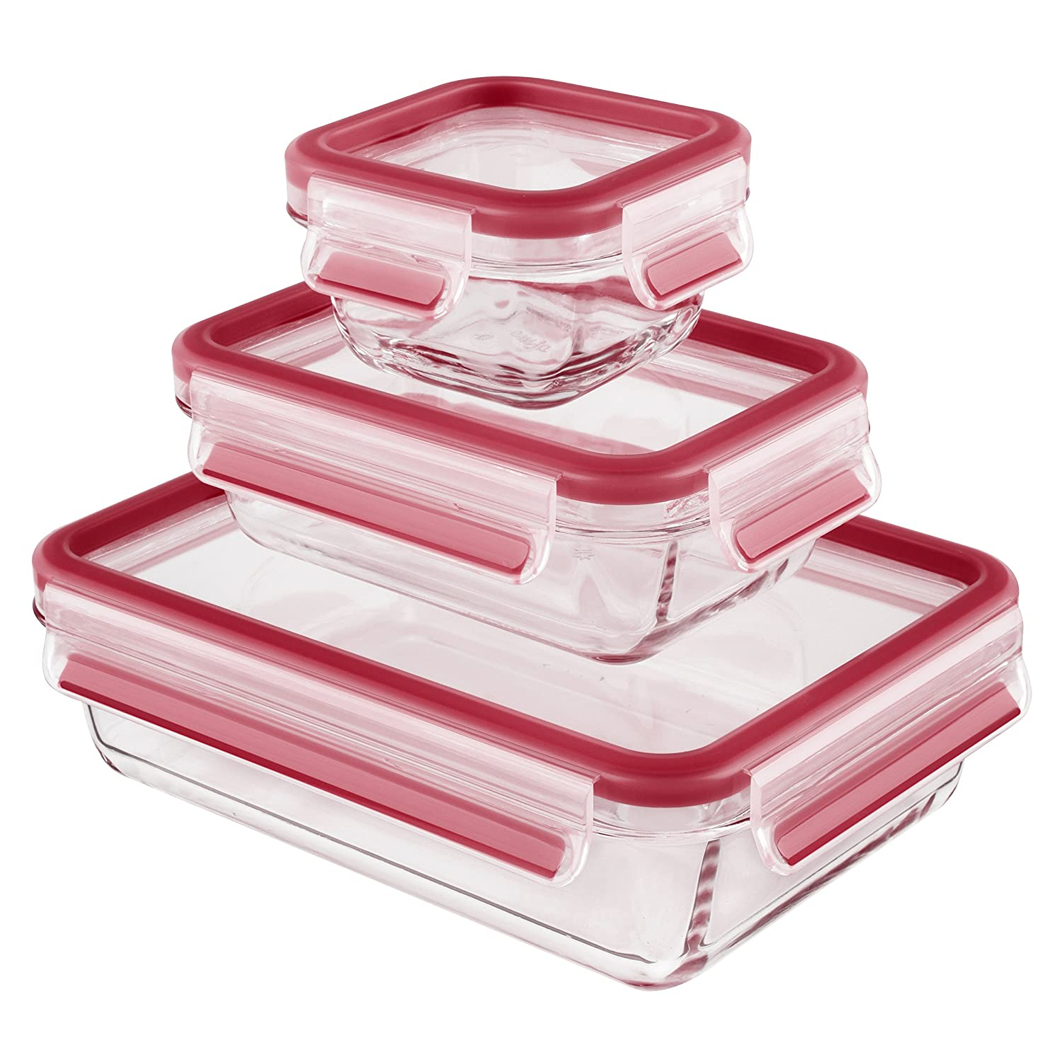 Emsa Clip & Close set of 3 Glass Food Containers with Lids