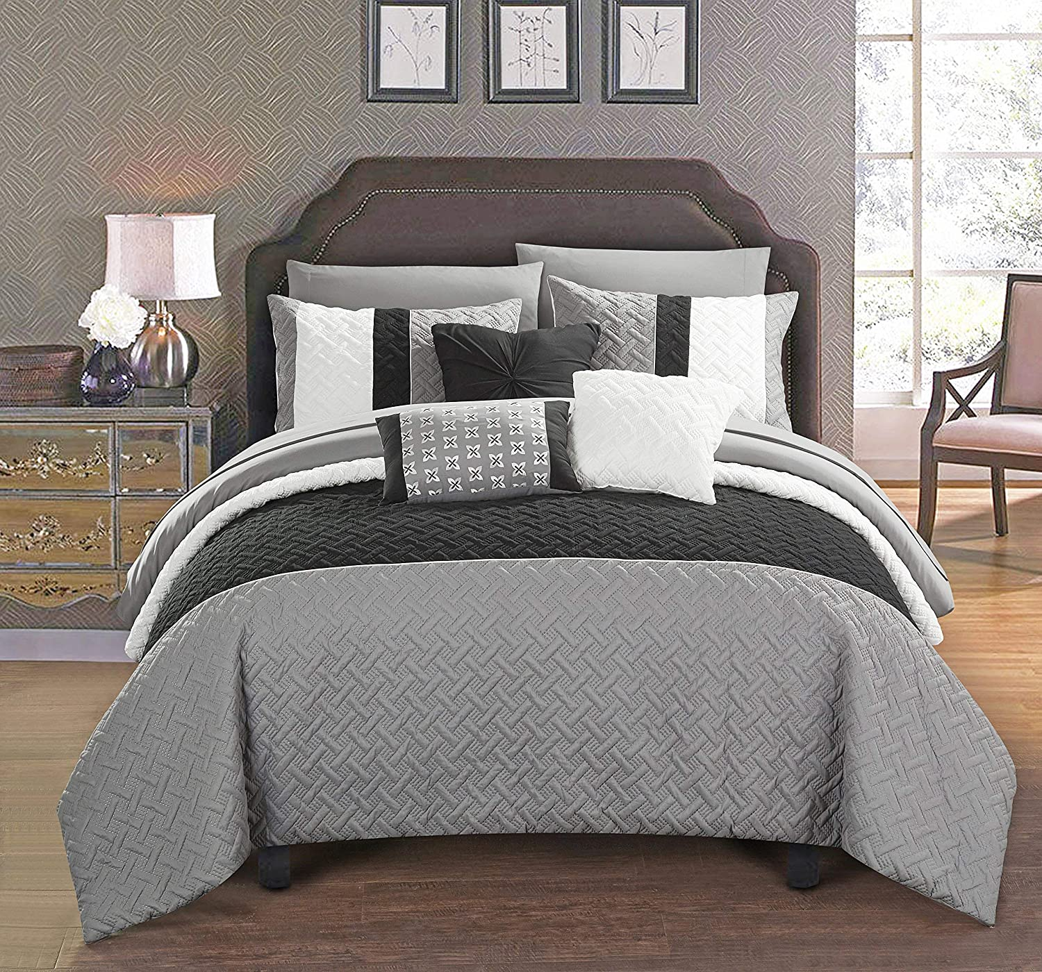 Sheets Decorative Pillows Shams Included Queen Black Chic Home Osnat 10 Piece Comforter Set Color Block Quilted Embroidered Design Bed in a Bag Bedding