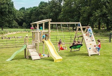 MASGAMES | Parque infantil Torre Cascade L | Plataforma de 120 cm de altura | con @Challenger: columpio de dos plazas con dos asientos planos + rocódromo y red para trepar |