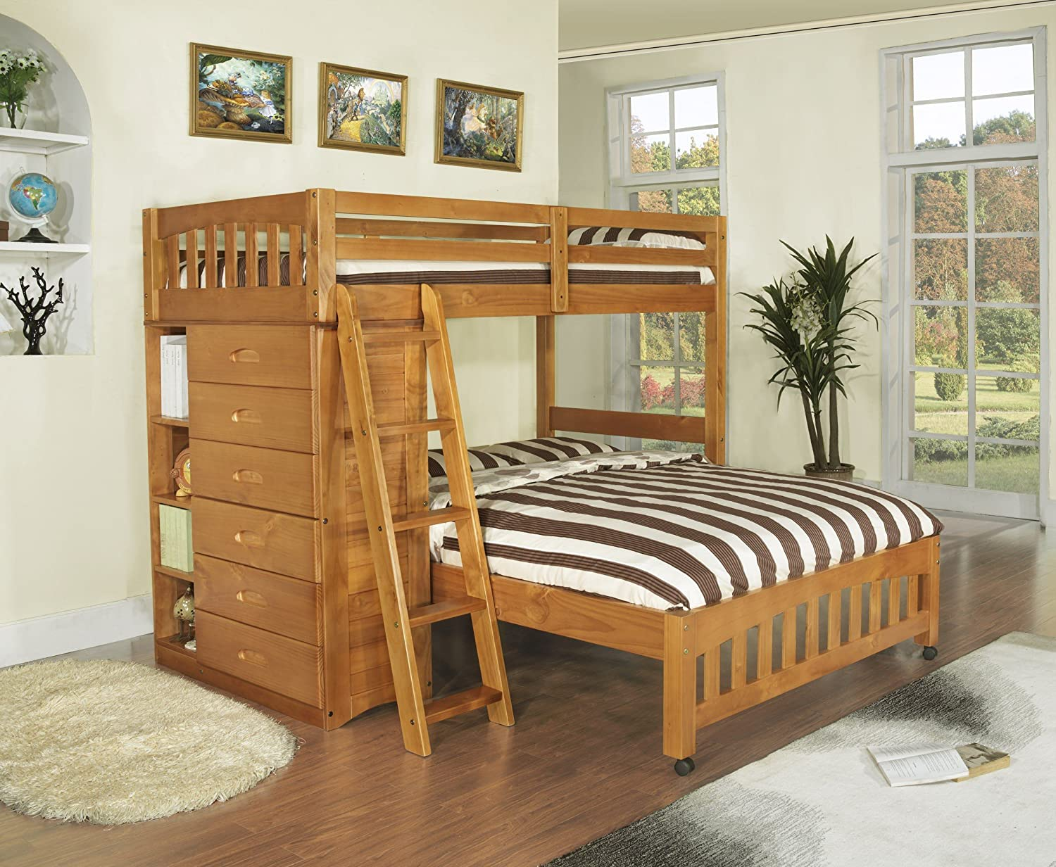 Amazon Com Discovery World Furniture Twin Over Full Loft Bed Honey