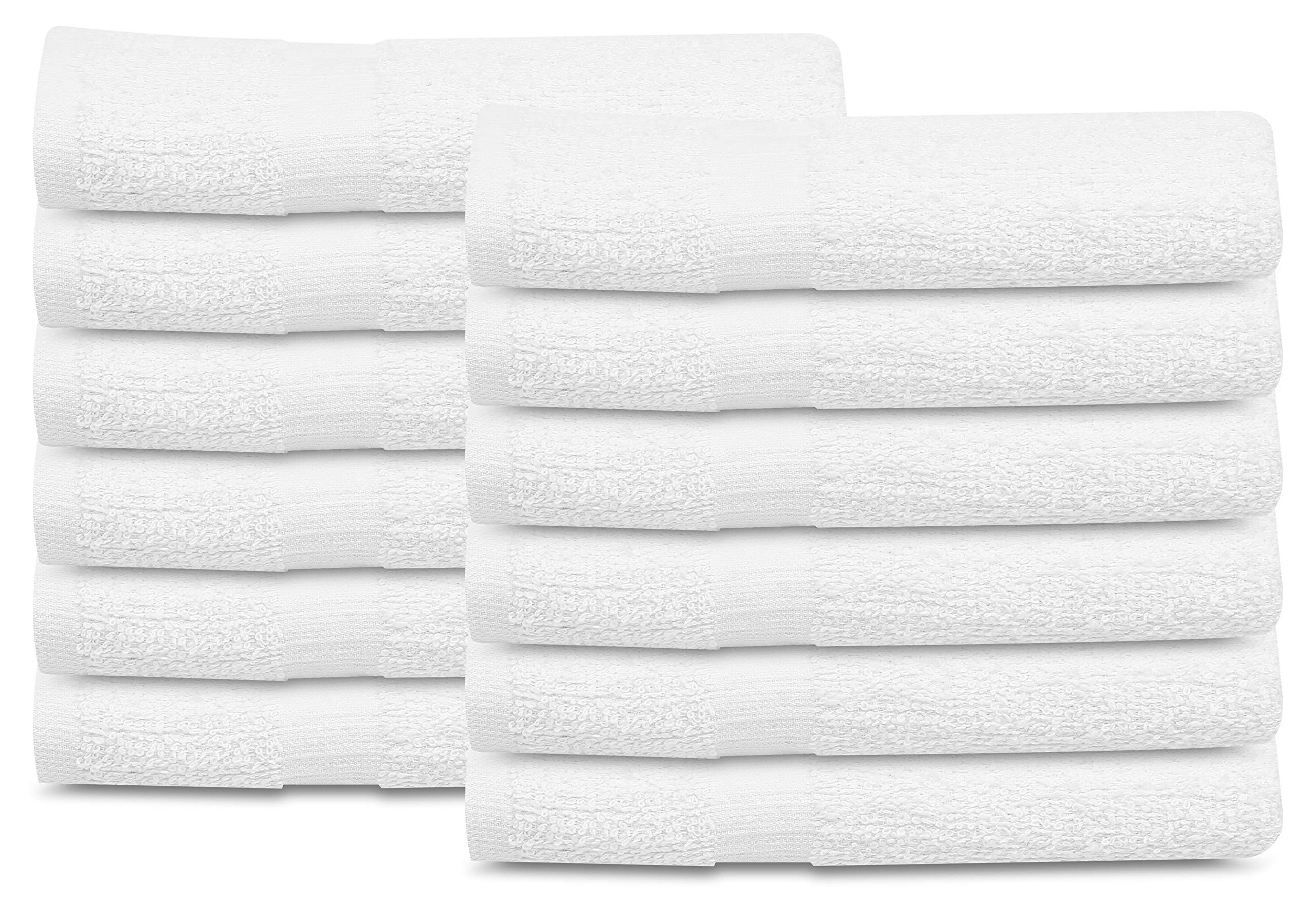 GOLD TEXTILES 24 PCS New White 20X40 100% Cotton Economy Bath Towels Soft & Quick Dry Salon Hair Towel-Gym Towel (2 Dozen)