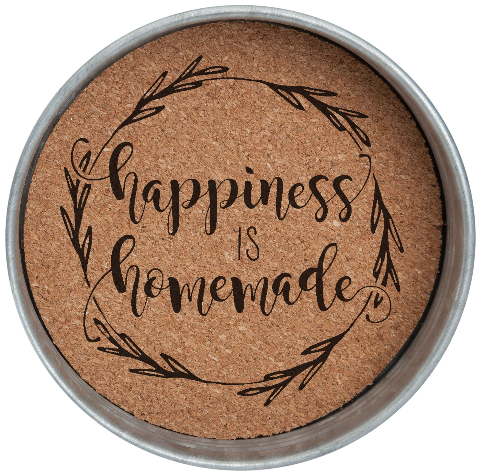 Occasionally Made O-HSW-CS-HAP 4'' Happiness is Homemade Mason Jar Lid Coaster Stack 4 Piece Set