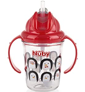 Nuby 2-Handle Printed No-Spill Thin Flip-It W/360 Weighted Straw Cup, Penguin/Red