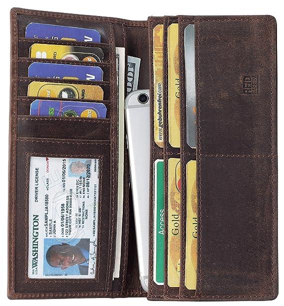44c627750dd2 Amazon.com  Mou Meraki RFID Blocking Brown Mens genuine leather Bifold Long  Wallet  Clothing
