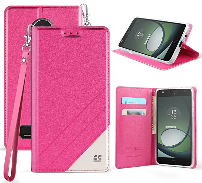 check out 76d8e 19894 Moto Z2 Play/Force Wallet Case, Pink Infolio Credit Card Slot Cover, View  Stand, Wrist Strap Lanyard for Motorola Moto Z2 Play/Force ...
