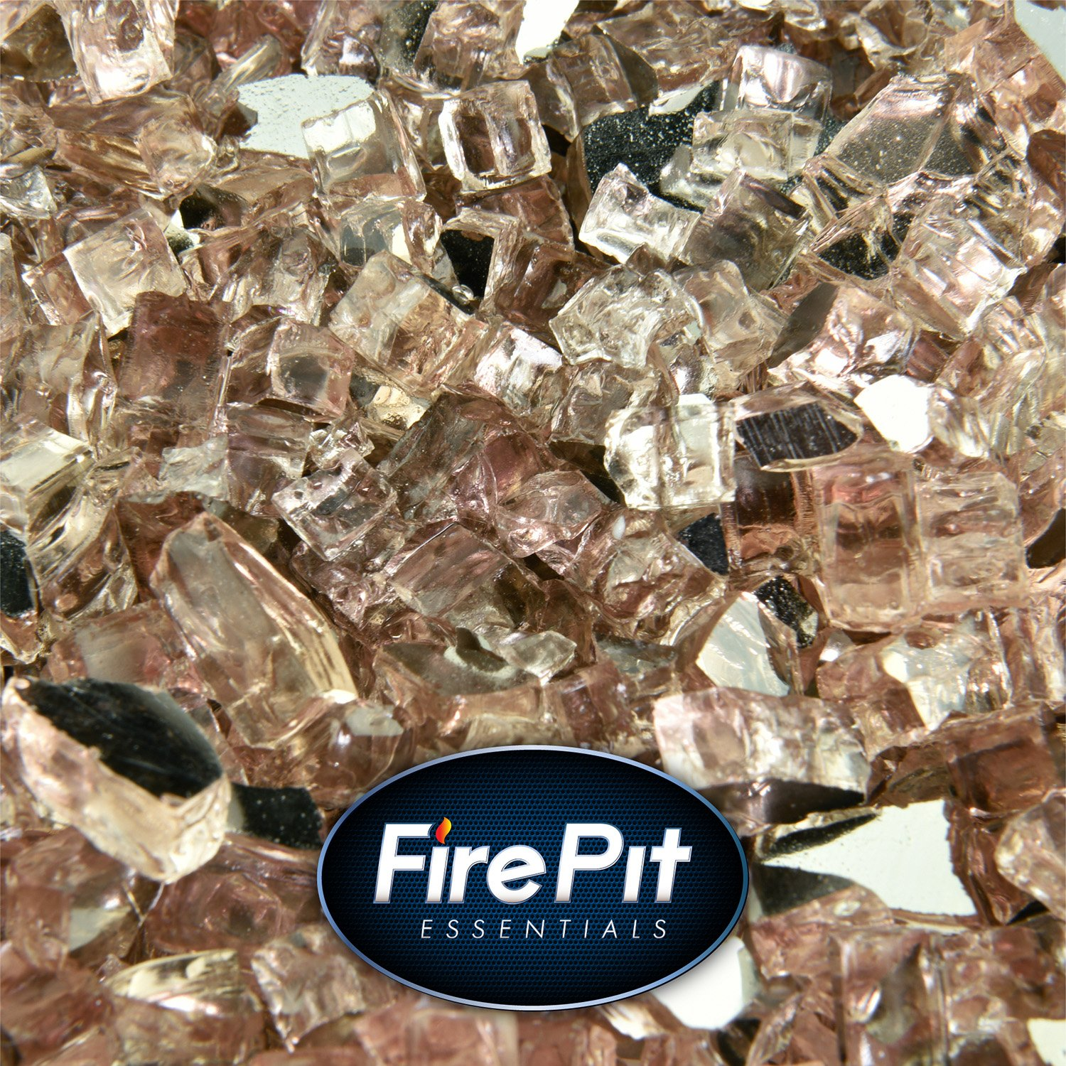 Rose Gold - Fire Glass for Indoor and Outdoor Fire Pits or Fireplaces | 10 Pounds | 1/4 Inch, Reflective