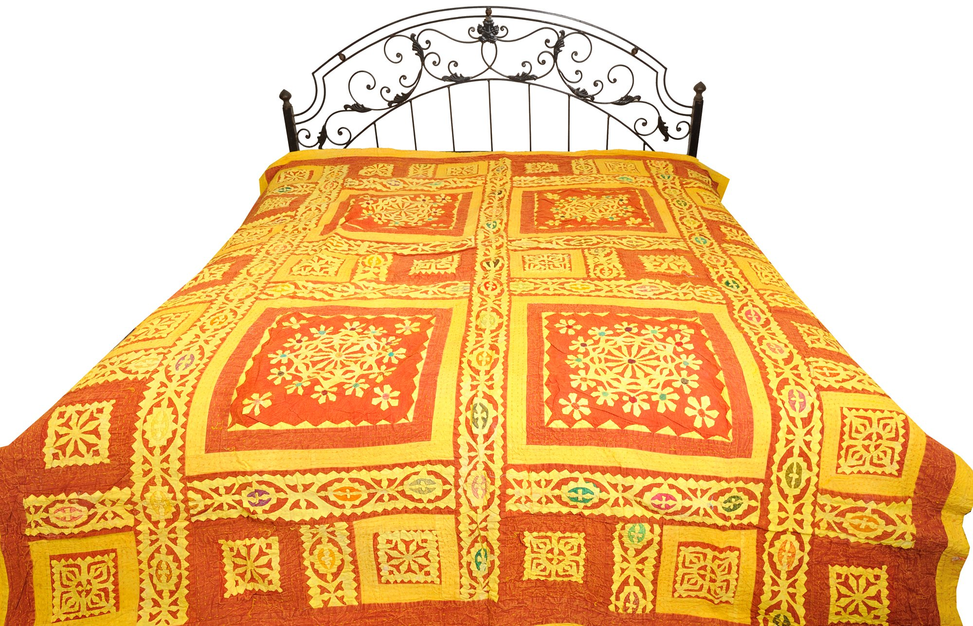Patchwork Stone-washed Bedspread from Gujarat with Flowers and Kantha Stitch - Pure Cotton - Color Brown And Yellow Color