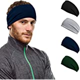 Workout Hairband Headband Sweatband Moisture Wicking Absorbing Stretchy Sports Unisex Elastic Helmet Liner for…