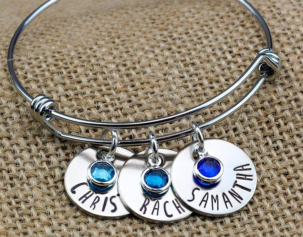 stainless steel Bangle name Bracelet gift for momgrandmanana Personalized Name  Birthstone stainless steel Bracelet