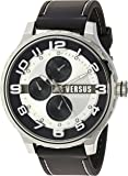 Versus by Versace Men's 'Globe' Quartz Stainless Steel and Rubber Casual Watch, Color:Black (Model: SBA130015)
