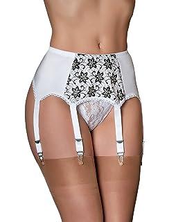 Nancies Lingerie Black Lycra 8 Strap Suspender Garter Belt for Stockings N...