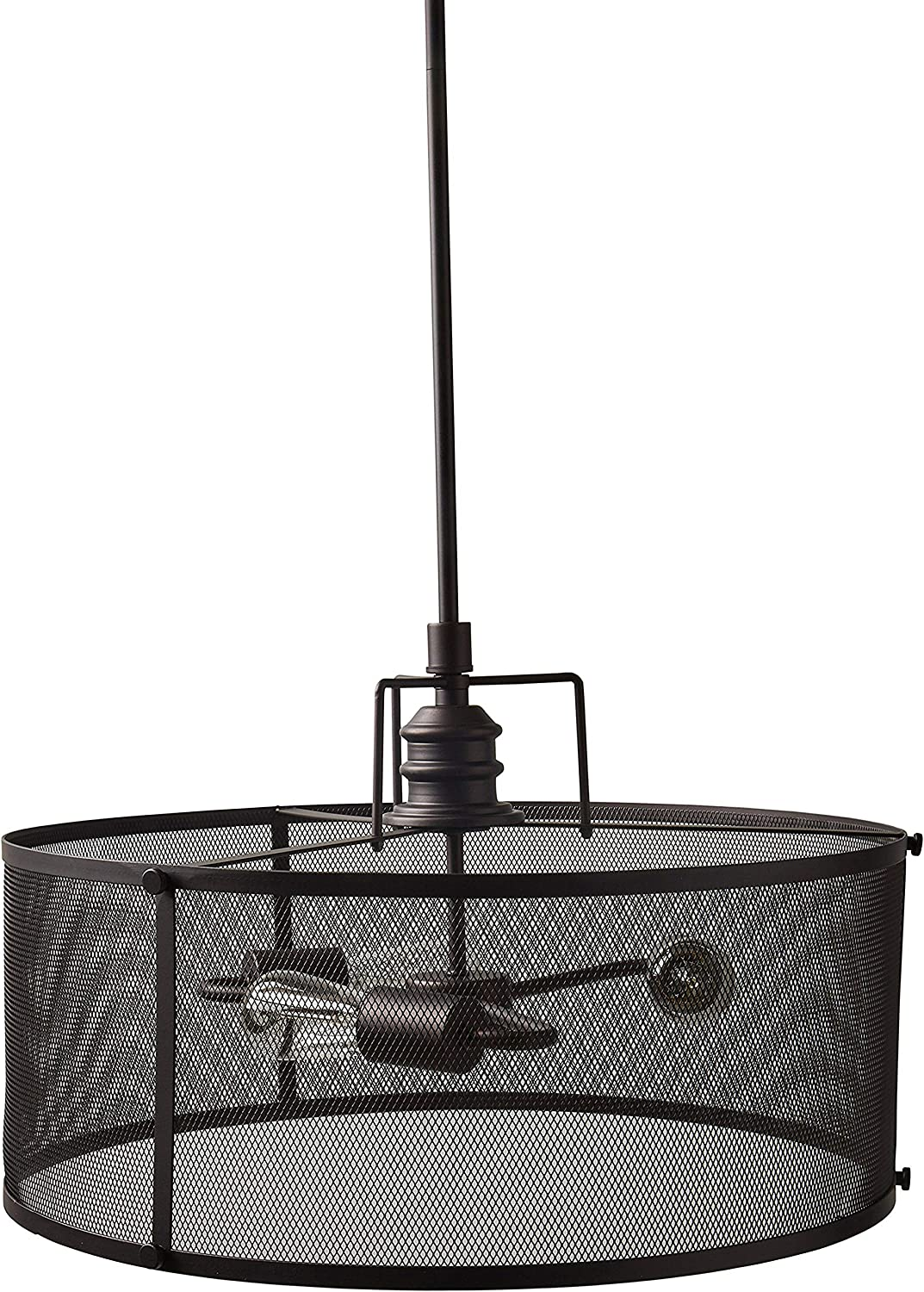 Emliviar 4 Light Foyer Chandelier, Lantern Pendant Light Cage Hanging Light for Entryway Dining Room, Black and Gold Finish, 2086P-4 BG