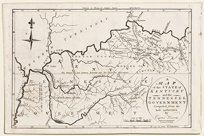 Amazon.com: A Map of the State of Kentucky & the Tennessee ...