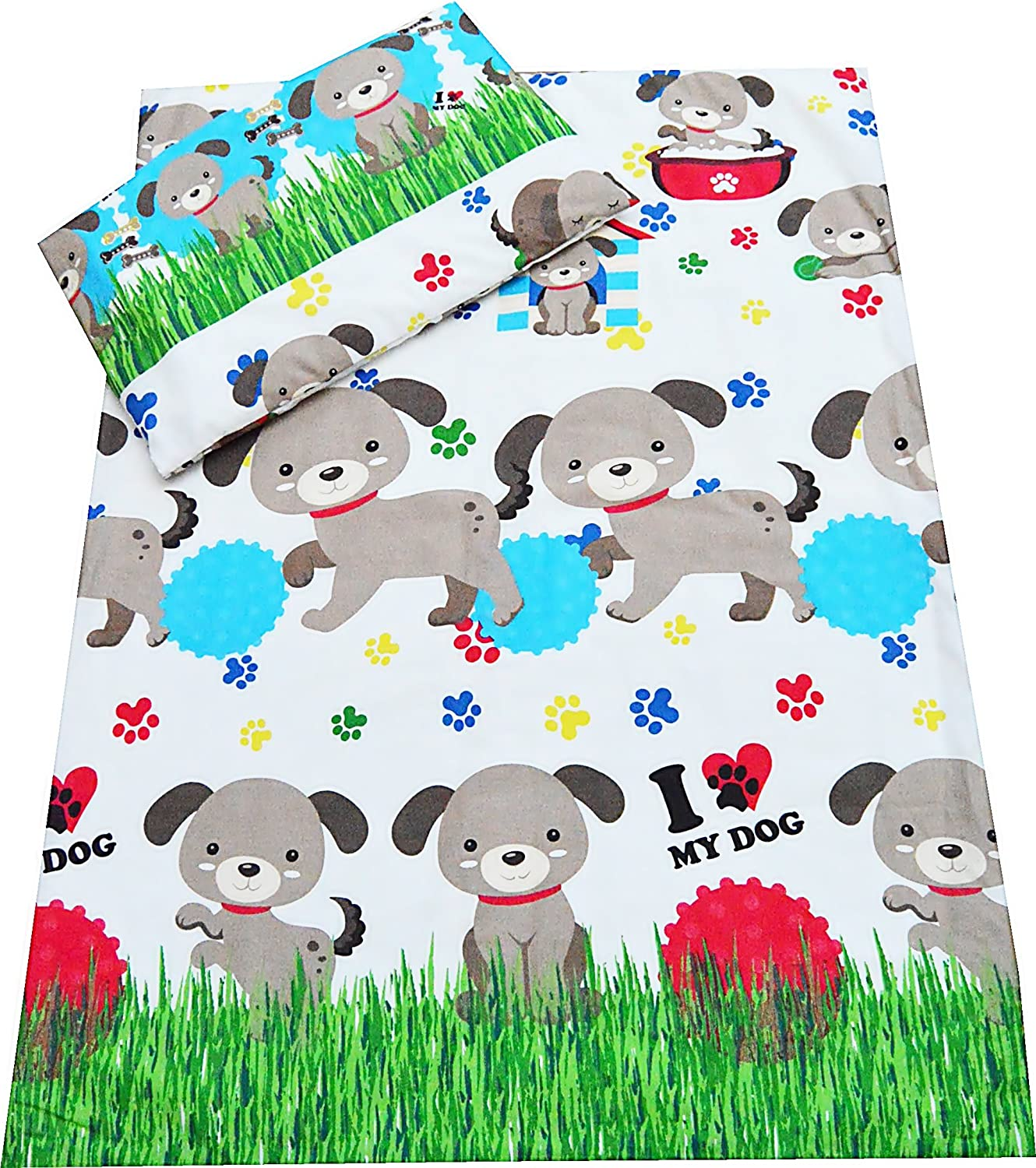 90x120 cm Babies-Island A/2 Piece Bedding Set Pillowcase+Duvet Cover For Baby Toddler Junior To Fit Cot//Cot Bed DOGS