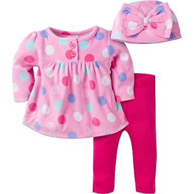 Gerber Girls' Three-Piece Micro-Fleece Top, Large Dots/Pink, 3-6 Months
