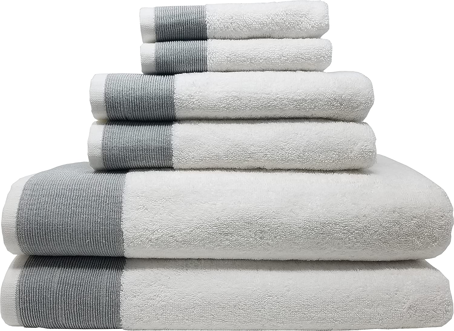 LUNASIDUS Venice Luxury Hotel & Spa Premium 6 pcs Bath Towel Set, 100% Turkish Cotton, Towel Sets, White Towel with Silver Stripe