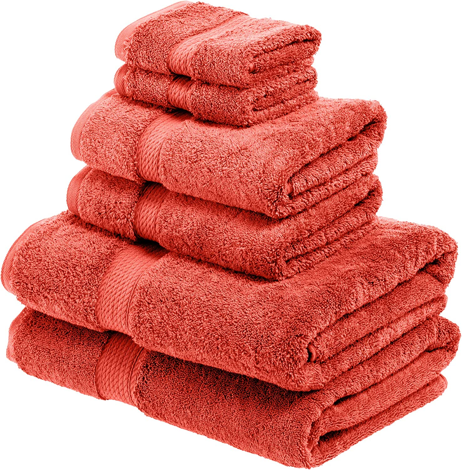 SUPERIOR Bathroom Accessories Bath Collection Towel Set, 6PC, Coral, 6 Piece: Home & Kitchen