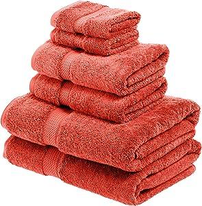 SUPERIOR Egyption Cotton Towel Set, 6PC, Coral, 6 Piece