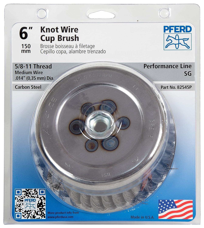 6000 rpm PFERD 82545P Standard Twist Knot Cup Brush 6 Diameter 5//8-11 Internal Thread 0.014 Wire Size POP Packaging 6 Diameter 1-5//8 Trim Length PFERD Inc. 1-5//8 Trim Length Carbon Steel Wire