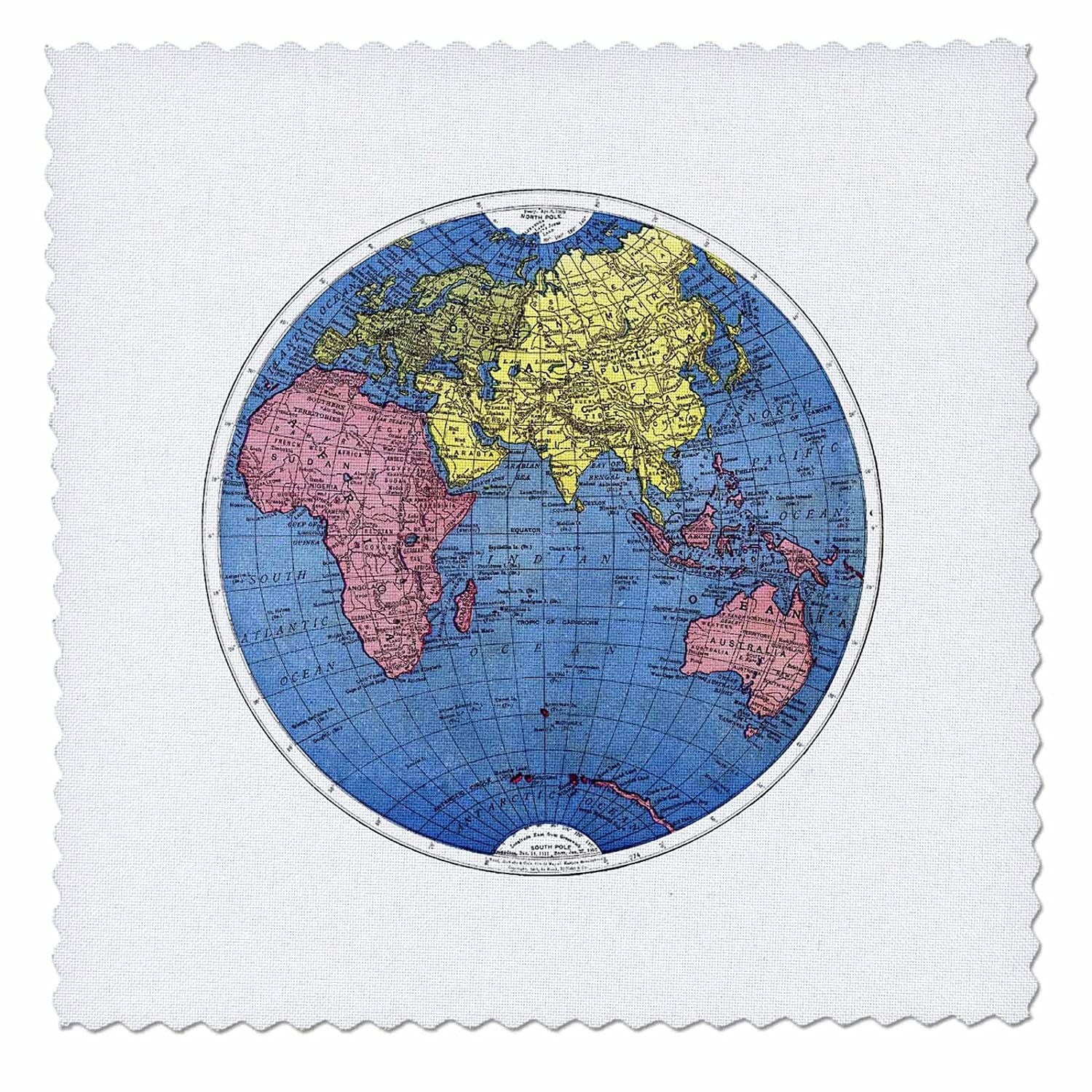 Amazon.com: 3dRose qs_37368_3 Blue Pink Yellow Map of World-Quilt ...