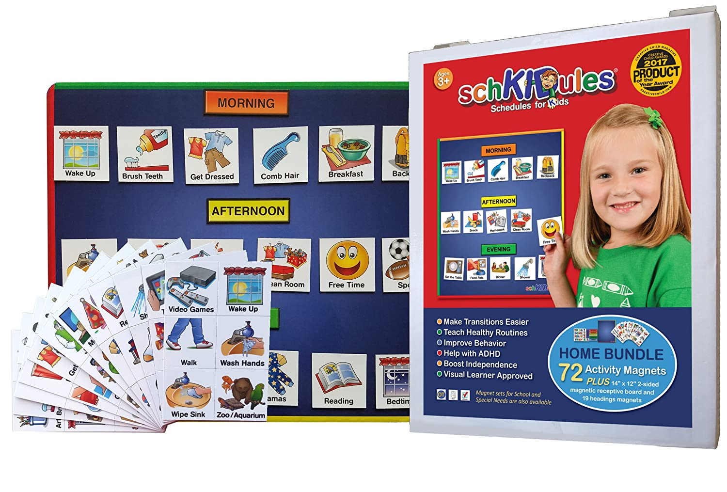 SchKIDules 3 Pc Home Bundle: Daily and Weekly Magnetic Visual Schedule, Kids Calendar and Behavioral Tool for Kids with 14 Board, 72 Home-Themed Activity Magnets and 19 Headings Magnets SchKIDules Visual Schedules