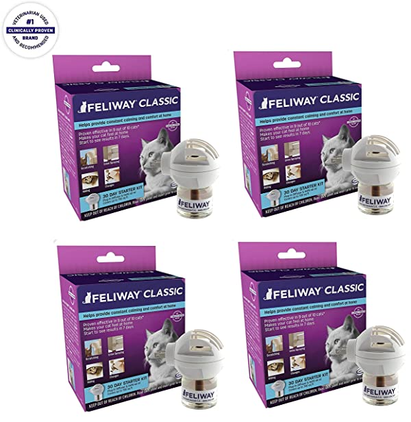FELIWAY Classic Diffuser for Cats (30 Day Starter Kit) | Constant Calming & Comfort at Home (Pack of 4) (Tamaño: pack of 4)