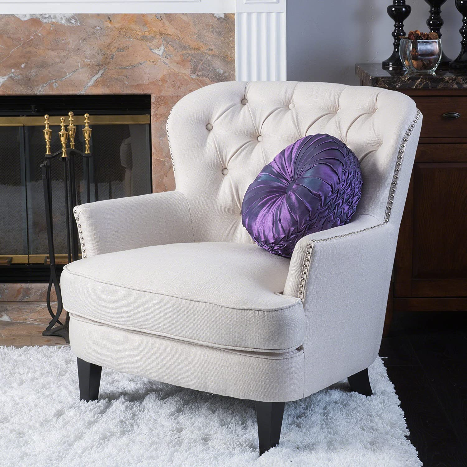 Christopher Knight Home 296469 Deal Furniture Alfred | Button-Tufted Fabric Club Chair Studded Accents | in Ivory