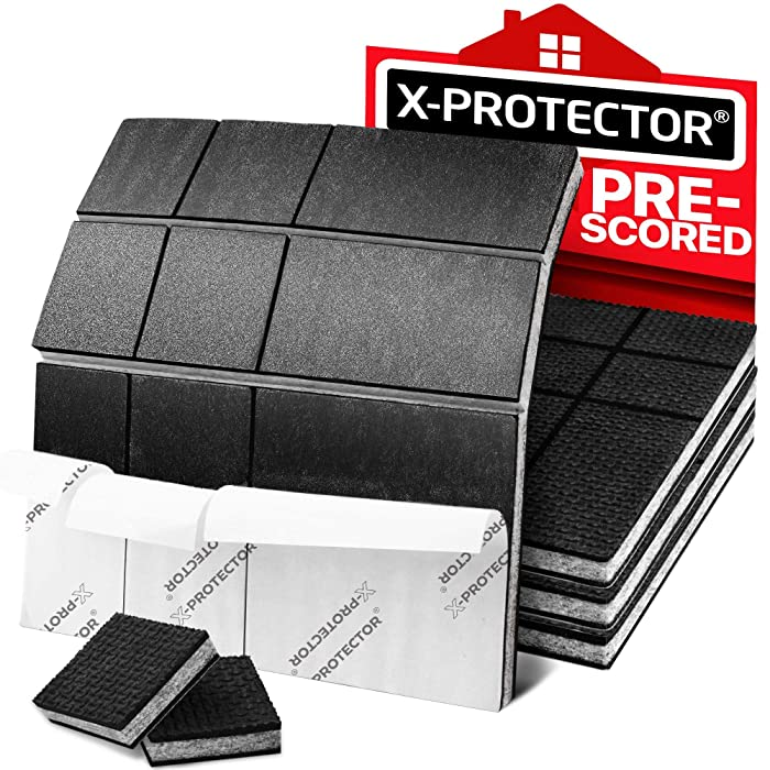 "Non Slip Furniture Pads X-PROTECTOR – Premium Pre-Cut 4 pcs 4"" Furniture Pad! Best Furniture Grippers - SelfAdhesive Rubber Feet - Furniture Floor Protectors & Furniture Stoppers"