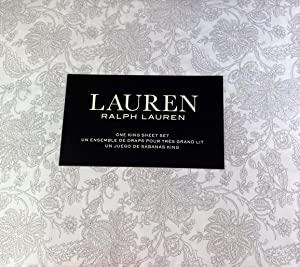Lauren King Size Floral Sheet Set Cotton Gray and White