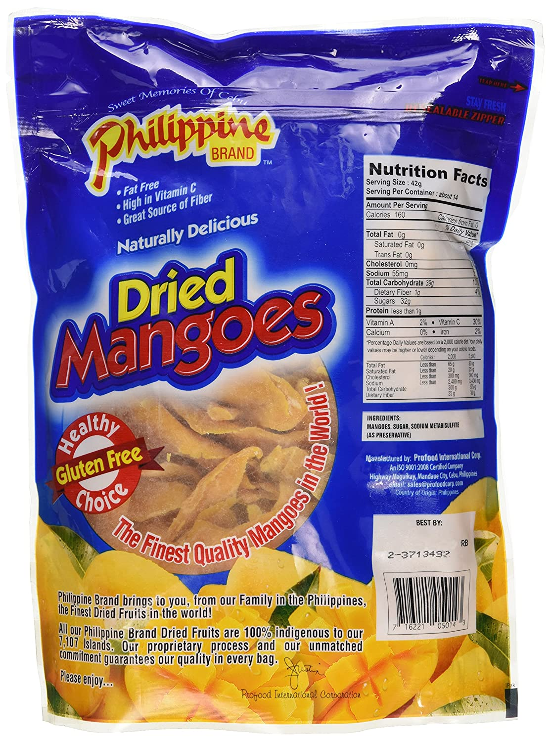 Philippine Dried Mangoes - 20 Oz  Bag - Healthy Fruit Snacks