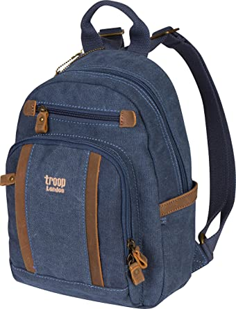 Troop London Canvas Backpack Leather Trims With Many Pockets Size Small  TRP0255 (1 - Blue 7406384a0c99d