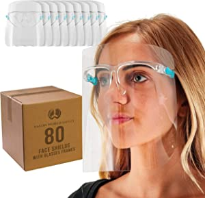 TCP Global Salon World Safety 80 Face Shields with Glasses Frames (20 Packs of 4) - Ultra Clear Protective Full Face Shields to Protect Eyes, Nose, Mouth - Anti-Fog PET Plastic, Goggles