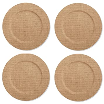 Amazoncom Mud Pie Burlap Covered Dinner Plate Charger Liner