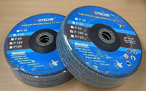 """100 Grit 10 Premium Zirconia Flap Disc Grinding Wheel 7/""""x7//8/"""" Lot of"""