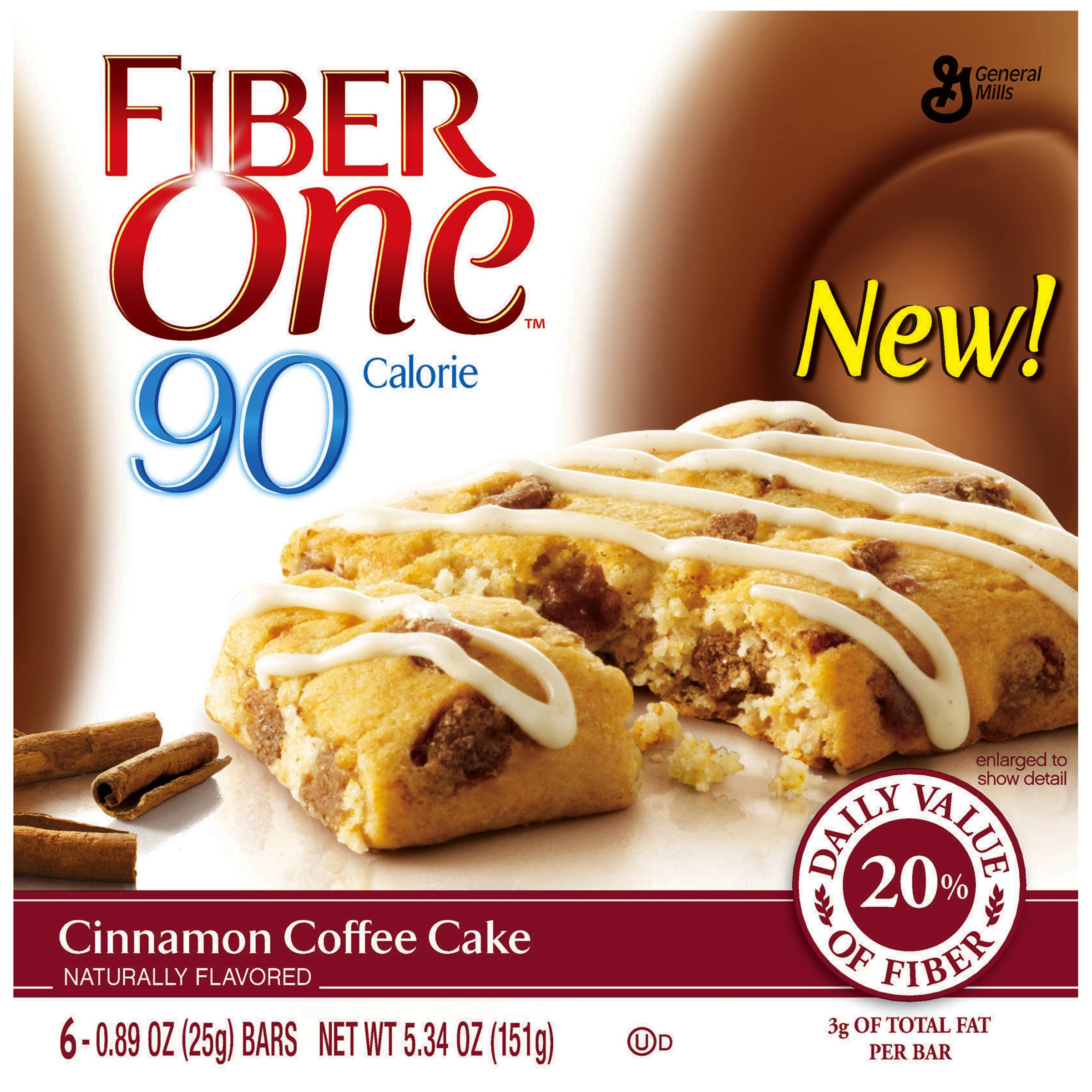 Fiber One 90 Calorie Bar, Cinnamon Coffee Cake, 6 Count 5.34 oz Boxes (Pack of 8)