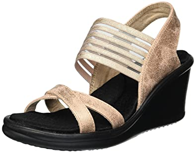 4df412a20a0 Skechers Women's Rumblers-Glam Society Wedge Sandal Rose Gold 5.5 B ...