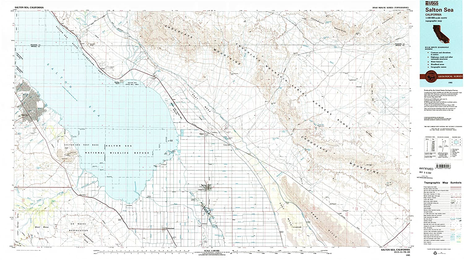 Amazon com : YellowMaps Salton Sea CA topo map, 1:100000