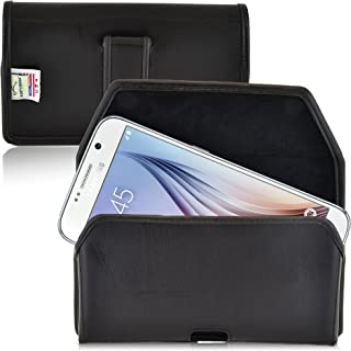 product image for Turtleback Holster Compatible with Galaxy S6 S6 Edge, bellt Case, Black Leather Pouch with Executive Belt Clip, Horizontal Made in USA