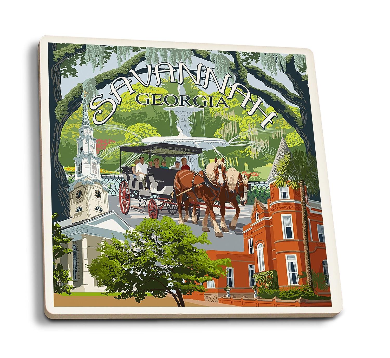 満点の Savannah, Georgia Town Views B01FOLTX4I Coaster (9x12 Art Print, Wall Lantern Decor Travel Poster) by Lantern Press B01FOLTX4I Ceramic Coaster Set Ceramic Coaster Set, インターショップ:3f242bdc --- aikurei.co.jp