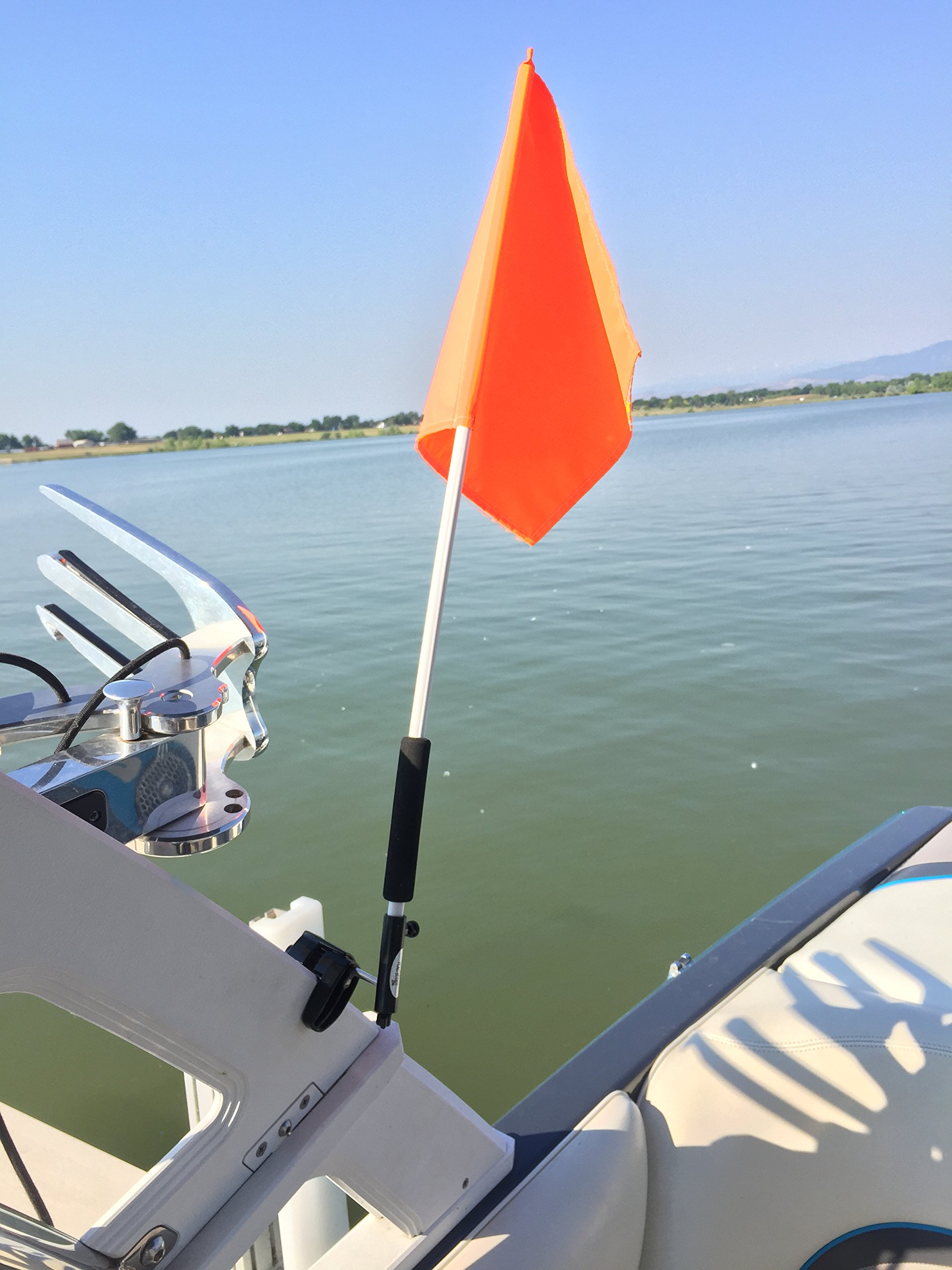 Flag Buddy Skier Down Flag Holder. Flag Included. Orange Safety Flag Included. Tired of Holding The Skier Down Flag? Just clamp The Flag Buddy to Your Window and Rotate it up When Required.