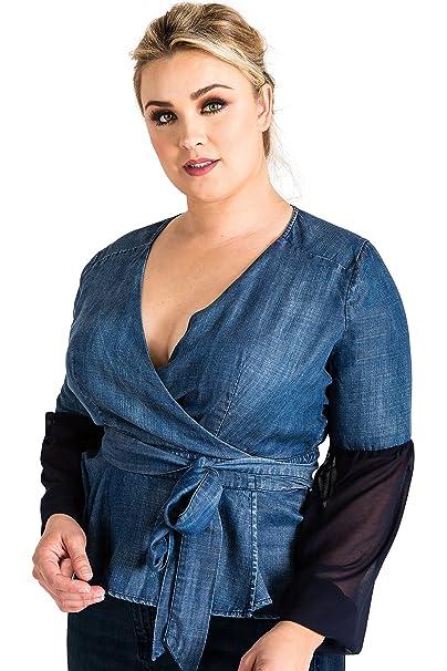 ade8d90e33b Standards   Practices Plus Size Modern Women s Tencel Denim Puff Sleeve Wrap  Top ...