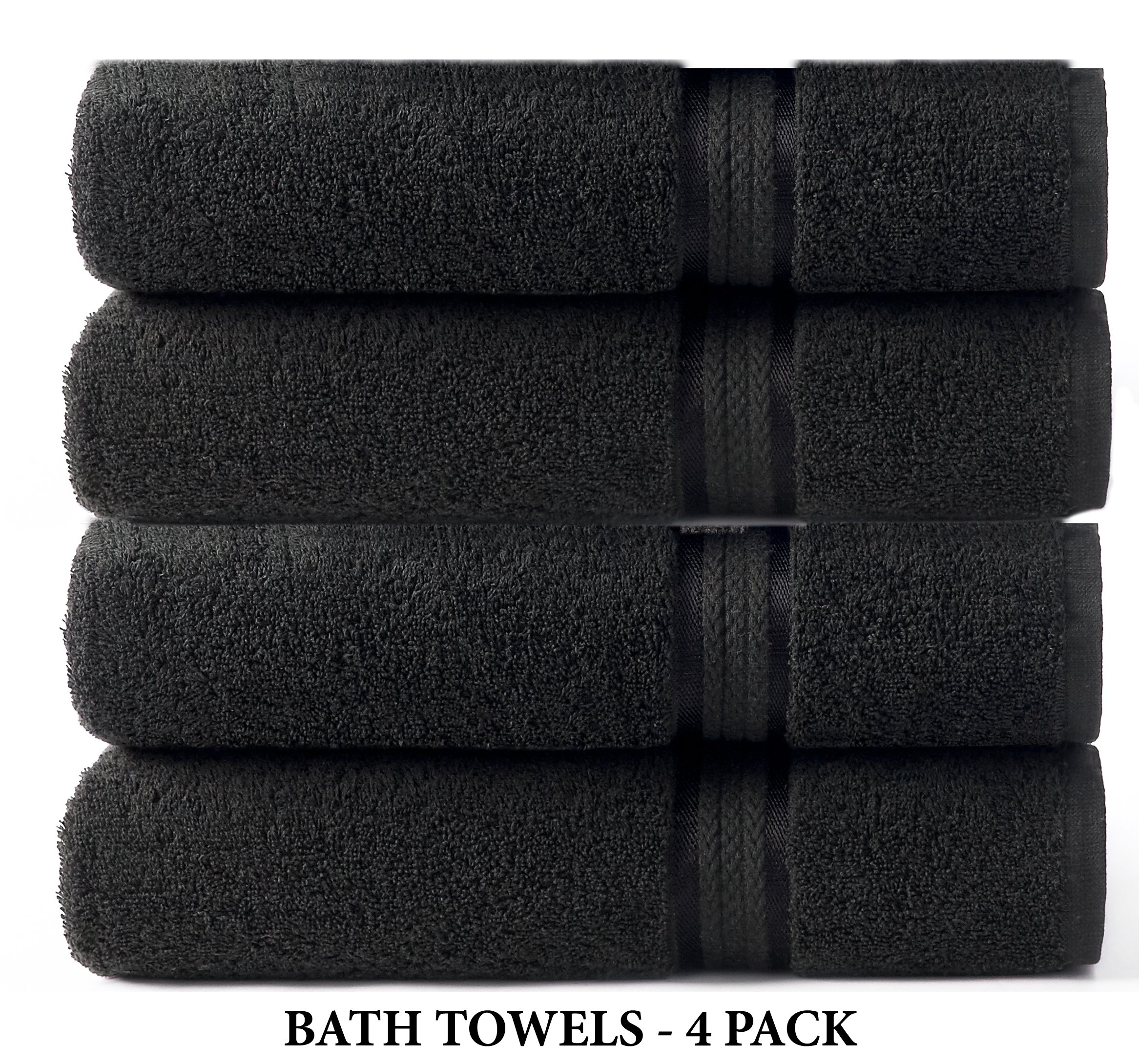 Cotton Craft - 12 Pack - Ultra Soft Extra Large Wash Cloths 12x12 Black - 100% Pure Ringspun Cotton - Luxurious Rayon Trim - Ideal for Daily Use - Each Towel Weighs 2 Ounces
