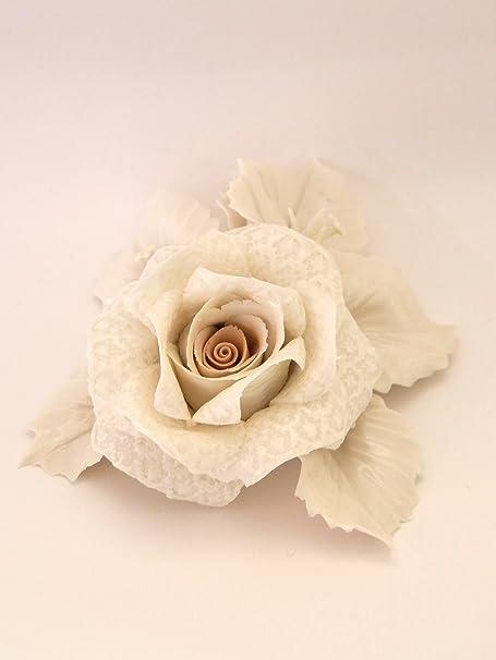 Bomboniere Capodimonte Matrimonio.Visconti Rosa Su Foglie In Pizzo Porcellanato Bomboniera