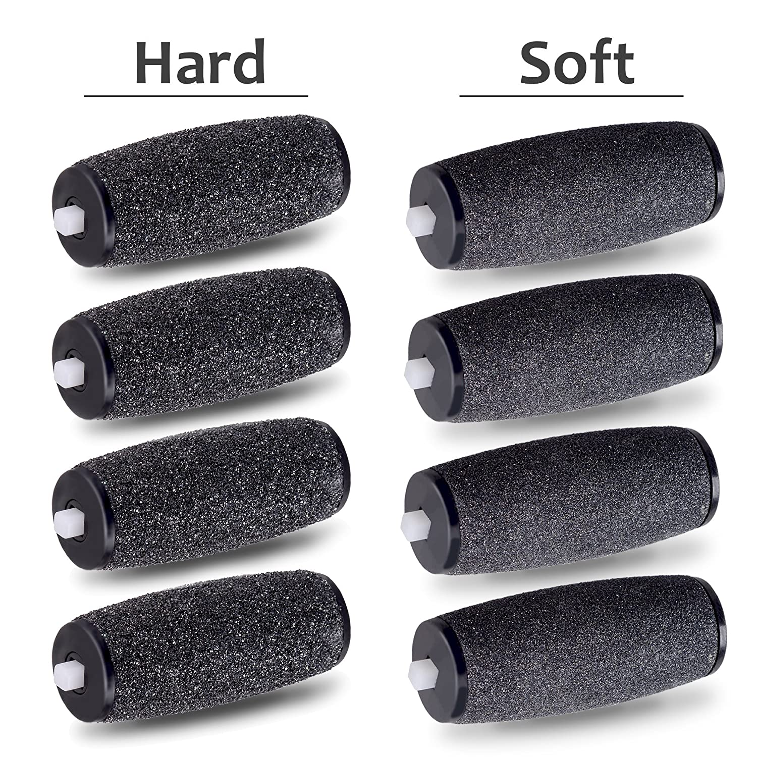 E-Cron® Replacement Rollers for Pedi Perfect/Velvet Smooth - Mix (Hard & Extra Hard) 8pcs CLR-SCH-MIX