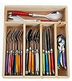 FlyingColors Laguiole Stainless Steel Flatware Set. Multicolor Handles, Wooden Storage Box, 34 Pieces